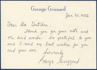 GEORGE GRIZZARD - AUTOGRAPH LETTER SIGNED 01/30/2006