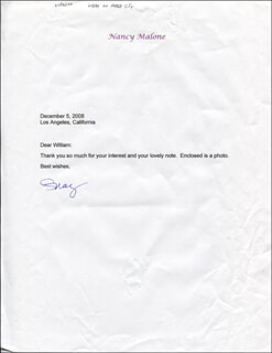NANCY MALONE - TYPED LETTER SIGNED 12/05/2008