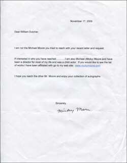 MICKY MOORE - TYPED LETTER SIGNED 11/17/2009