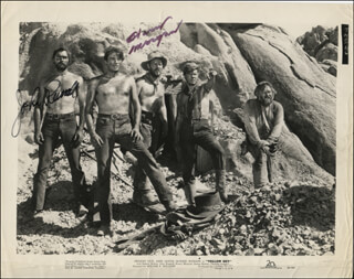 YELLOW SKY MOVIE CAST - PRINTED PHOTOGRAPH SIGNED IN INK CO-SIGNED BY: JOHN RUSSELL, HARRY MORGAN