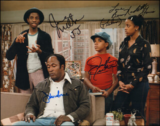 Autographs: GOOD TIMES TV CAST - PHOTOGRAPH SIGNED CO-SIGNED BY: JOHN AMOS, JIMMIE J. J. WALKER, RALPH CARTER, BERN NADETTE STANIS