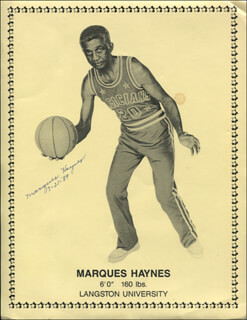 MARQUES HAYNES - PRINTED PHOTOGRAPH SIGNED IN INK 07/21/1989