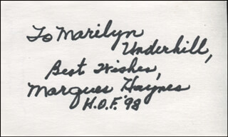 MARQUES HAYNES - AUTOGRAPH NOTE SIGNED