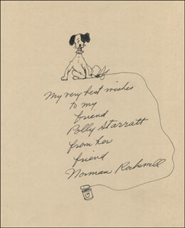 NORMAN ROCKWELL - INSCRIBED ORIGINAL ART SIGNED