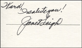 JANET LEIGH - AUTOGRAPH NOTE SIGNED