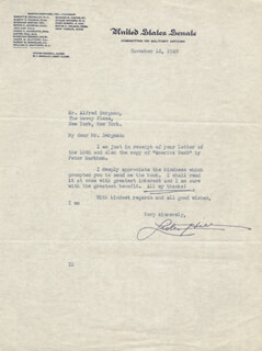LISTER HILL - TYPED LETTER SIGNED 11/18/1940