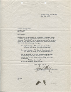 JACK BENNY - DOCUMENT SIGNED 05/22/1940