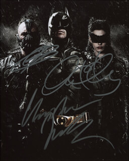 THE DARK KNIGHT RISES MOVIE CAST - AUTOGRAPHED SIGNED PHOTOGRAPH CO-SIGNED BY: CHRISTIAN BALE, ANNE HATHAWAY, TOM HARDY
