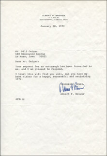 GOVERNOR ALBERT P. BREWER - TYPED LETTER SIGNED 01/18/1972
