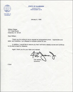 GOVERNOR FOB JAMES - TYPED LETTER SIGNED 01/08/1998