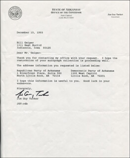 GOVERNOR JAMES GUY JIM TUCKER - TYPED LETTER SIGNED 12/15/1993