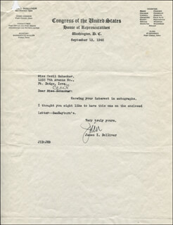 GOVERNOR JAMES I. DOLLIVER - TYPED LETTER SIGNED 09/13/1945