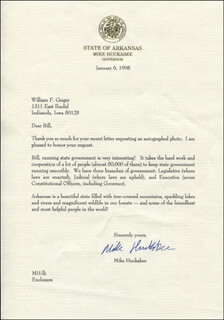 GOVERNOR MIKE HUCKABEE - TYPED LETTER SIGNED 01/06/1998