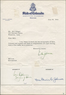 GOVERNOR EDWIN C. JOHNSON - TYPED LETTER SIGNED 07/19/1955 CO-SIGNED BY: FERNE CLAIRE JOHNSON