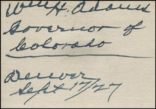 Autographs: GOVERNOR WILLIAM H. BILLY ADAMS - SIGNATURE(S) 09/17/1927