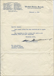 WILLIAM F. KNOWLAND - TYPED LETTER SIGNED 02/03/1954