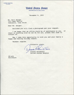 DIANNE FEINSTEIN - TYPED LETTER SIGNED 12/09/1993