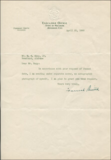 GOVERNOR FORREST SMITH - TYPED LETTER SIGNED 04/22/1949