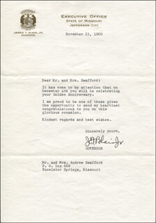 GOVERNOR JAMES T. BLAIR JR. - TYPED LETTER SIGNED 11/23/1960