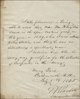 REAR ADMIRAL GEORGE F. PEARSON - AUTOGRAPH LETTER SIGNED 07/05/1845