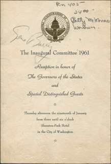 GENE BARRY - INAUGURAL PROGRAM SIGNED CIRCA 1961