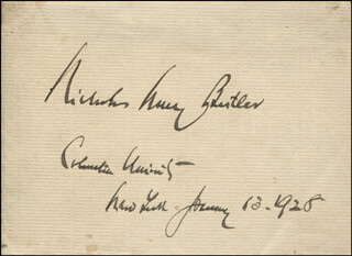 Autographs: NICHOLAS MURRAY BUTLER - SIGNATURE(S) 01/13/1928