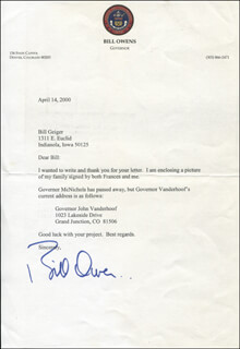 GOVERNOR BILL OWENS - TYPED LETTER SIGNED 04/14/2000