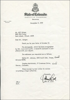 GOVERNOR JOHN A. LOVE - TYPED LETTER SIGNED 11/02/1972