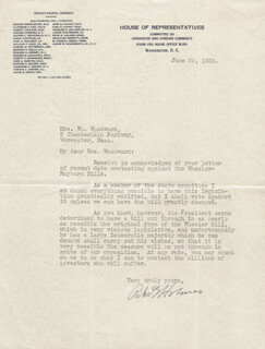 Autographs: PEHR HOLMES - TYPED LETTER SIGNED 06/20/1935