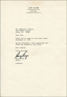 GARY PLAYER - TYPED LETTER SIGNED CIRCA 1979
