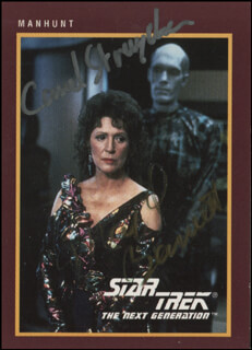 Autographs: STAR TREK-NEXT GENERATION MOVIE CAST - TRADING/SPORTS CARD SIGNED CO-SIGNED BY: CAREL STRUYCKEN, MAJEL BARRETT