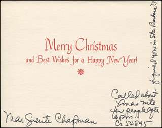 MARGUERITE CHAPMAN - CHRISTMAS / HOLIDAY CARD SIGNED