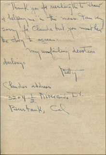 BETTY BLYTHE - AUTOGRAPH LETTER SIGNED