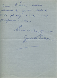 JUDITH EVELYN - AUTOGRAPH LETTER SIGNED