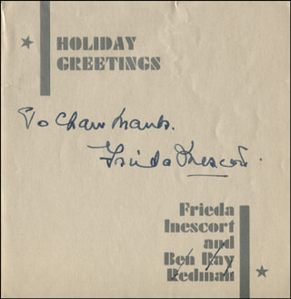 FRIEDA INESCORT - INSCRIBED CHRISTMAS / HOLIDAY CARD SIGNED CIRCA 1937