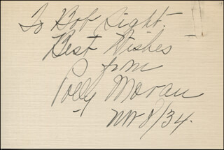 POLLY MORAN - AUTOGRAPH NOTE SIGNED 11/08/1934