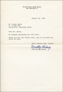 DOROTHY STICKNEY - TYPED LETTER SIGNED 08/24/1989