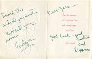 EVELYN BRENT - AUTOGRAPH NOTE ON CHRISTMAS / HOLIDAY CARD SIGNED