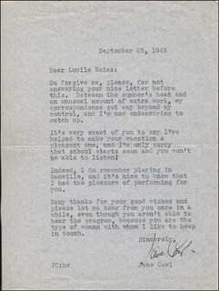 JANE COWL - TYPED LETTER SIGNED 09/25/1945
