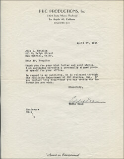 EDDIE DEAN - TYPED LETTER SIGNED 04/27/1946