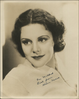 HELEN MACK - AUTOGRAPHED INSCRIBED PHOTOGRAPH