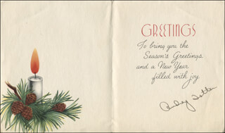 AUDREY TOTTER - CHRISTMAS / HOLIDAY CARD SIGNED