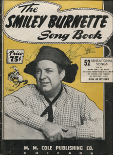 SMILEY (LESTER) BURNETTE - SHEET MUSIC SIGNED CO-SIGNED BY: HARMONICA BILL