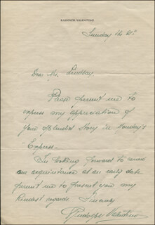 RUDOLPH THE SHEIK VALENTINO - AUTOGRAPH LETTER SIGNED