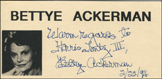 BETTYE ACKERMAN - AUTOGRAPH NOTE SIGNED 02/22/1994