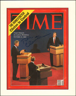 PRESIDENT WILLIAM J. BILL CLINTON - MAGAZINE COVER SIGNED