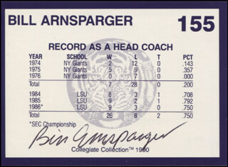 Autographs: BILL ARNSPARGER - TRADING/SPORTS CARD SIGNED