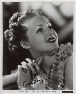 JUNE LANG - AUTOGRAPHED SIGNED PHOTOGRAPH