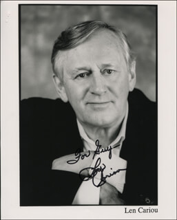 LEN CARIOU - INSCRIBED PRINTED PHOTOGRAPH SIGNED IN INK