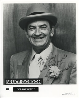 BRUCE GORDON - INSCRIBED PRINTED PHOTOGRAPH SIGNED IN INK